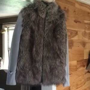 Express faux fur vested sweater